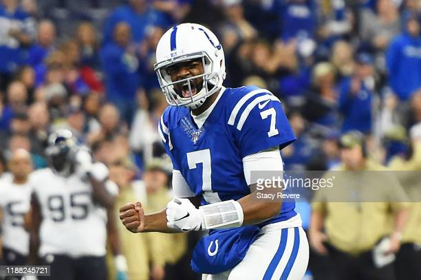 Jacoby Brissett of the Indianapolis Colts celebrates a touchdown against the Jacksonville Jaguars during the first quarter at Lucas Oil Stadium on...