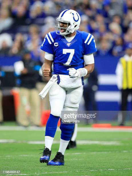 Jacoby Brissett of the Indianapolis Colts celebrates after a touchdown against the Carolina Panthers at Lucas Oil Stadium on December 22, 2019 in...