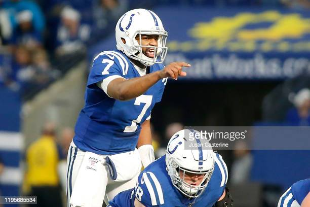 Jacoby Brissett of the Indianapolis Colts directs his team in the game against the Carolina Panthers at Lucas Oil Stadium on December 22, 2019 in...