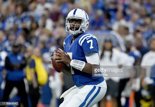 Jacoby Brissett of the Indianapolis Colts drops back to pass during the game between the Indianapolis Colts and the Atlanta Falcons at Lucas Oil...