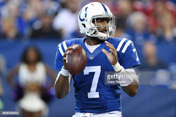 Jacoby Brissett of the Indianapolis Colts drops back to pass during the second quarter of a game against the San Francisco 49ers at Lucas Oil Stadium...