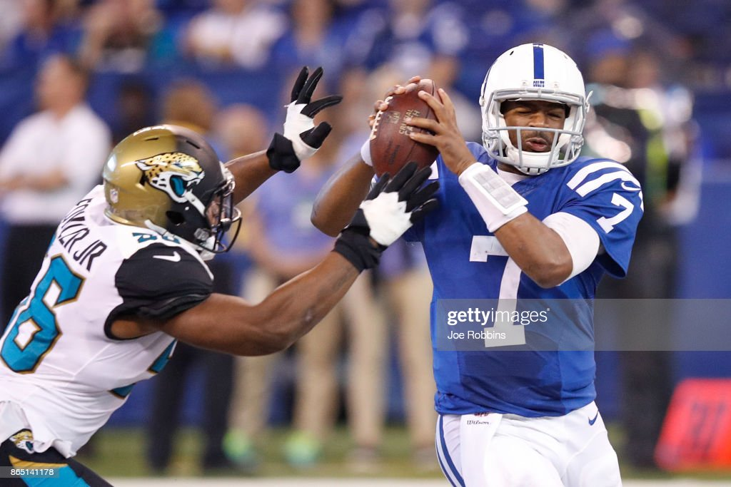 Jacoby Brissett #7 Of The Indianapolis Colts Is Sacked By Dante Fowler #56  Of