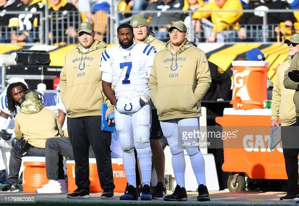 Jacoby Brissett of the Indianapolis Colts looks on from the sideline during the third quarter after being injured against the Pittsburgh Steelers at...