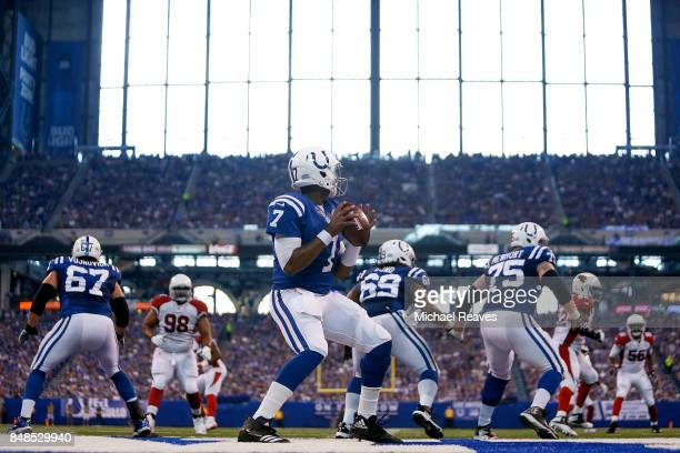Jacoby Brissett of the Indianapolis Colts looks to pass against the Arizona Cardinals during the first half at Lucas Oil Stadium on September 17 2017...