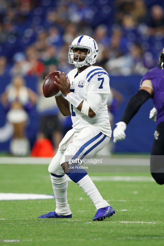 Jacoby Brissett #7 of the Indianapolis Colts looks to pass the ball in the third quarter of a preseason game against the Baltimore Ravens at Lucas Oil Stadium on August 20, 2018 in Indianapolis, Indiana.