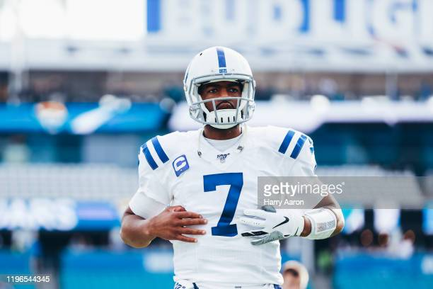 Jacoby Brissett of the Indianapolis Colts on the field before facing the Jacksonville Jaguars at TIAA Bank Field on December 29, 2019 in...