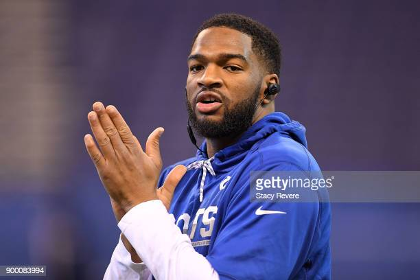 Jacoby Brissett of the Indianapolis Colts participates in warmups prior to a game against the Houston Texans at Lucas Oil Stadium on December 31 2017...