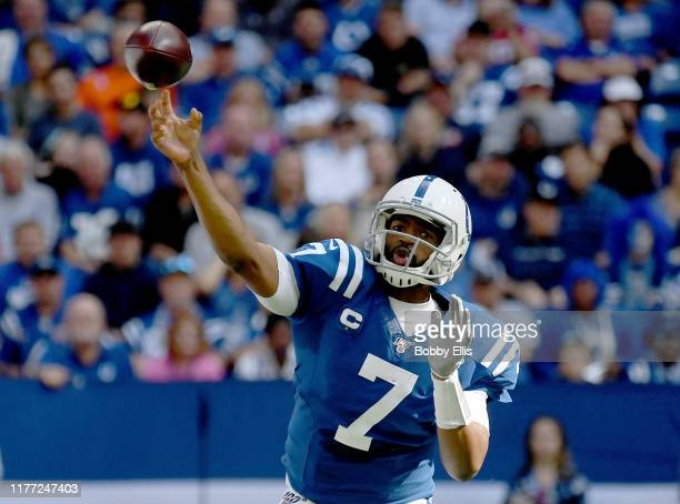 Jacoby Brissett of the Indianapolis Colts passes the ball during the second quarter of the game against the Houston Texans at Lucas Oil Stadium on...