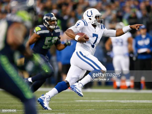 Jacoby Brissett of the Indianapolis Colts points as he rushes for 25 yards in the second quarter of the game against the Seattle Seahawks at...