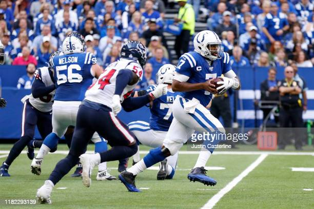 Jacoby Brissett of the Indianapolis Colts runs the ball in the game against the Houston Texans during the first quarter at Lucas Oil Stadium on...