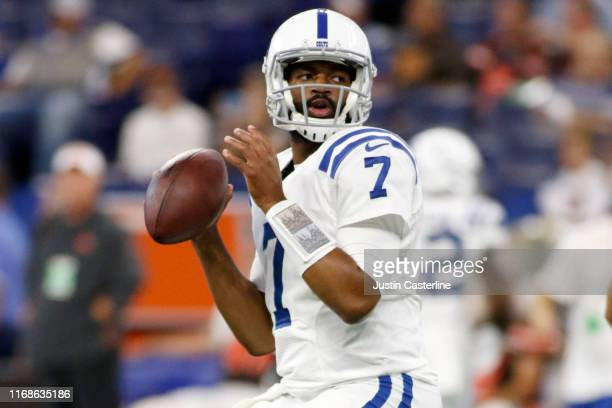 Jacoby Brissett of the Indianapolis Colts throws a pass before the preseason game against the Cleveland Browns at Lucas Oil Stadium on August 17 2019...