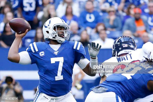 Jacoby Brissett of the Indianapolis Colts throws a pass during the first quarter in the game against the Houston Texans at Lucas Oil Stadium on...