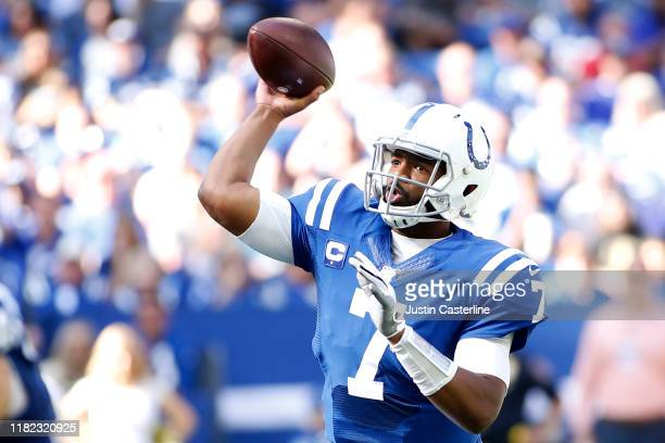 Jacoby Brissett of the Indianapolis Colts throws a pass in the game against the Houston Texans during the fourth quarter at Lucas Oil Stadium on...