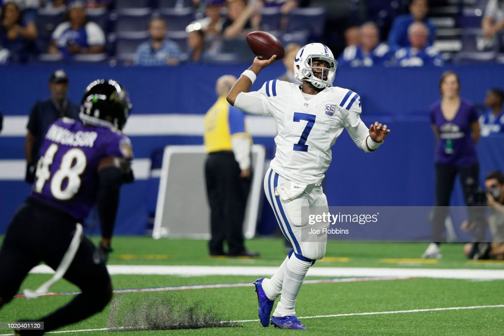 Jacoby Brissett #7 of the Indianapolis Colts throws a pass in the third quarter of a preseason game against the Baltimore Ravens at Lucas Oil Stadium on August 20, 2018 in Indianapolis, Indiana.