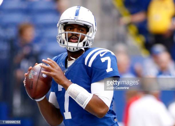 Jacoby Brissett of the Indianapolis Colts warms up before preseason game against the Chicago Bears at Lucas Oil Stadium on August 24 2019 in...