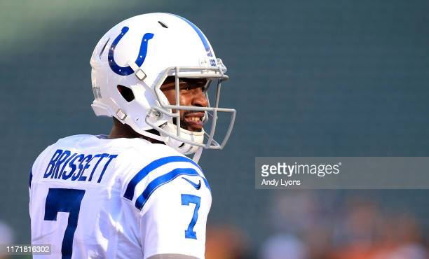 Jacoby Brissett of the Indianapolis Colts warms up before the game against the Cincinnati Bengals at Paul Brown Stadium on August 29 2019 in...