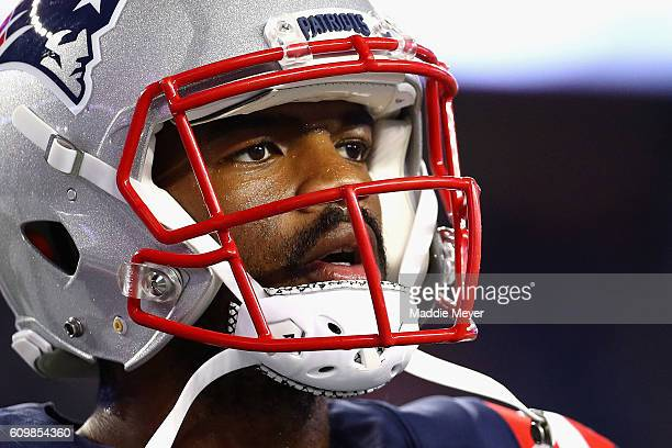 Jacoby Brissett of the New England Patriots looks on before the game against the Houston Texans at Gillette Stadium on September 22 2016 in Foxboro...