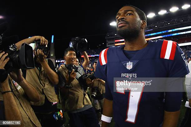 Jacoby Brissett of the New England Patriots reacts after defeating the Houston Texans 270 at Gillette Stadium on September 22 2016 in Foxboro...