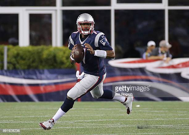 Jacoby Brissett of the New England Patriots runs in the second half of a preseason game against Chicago Bears on August 18 2016 in Foxboro...