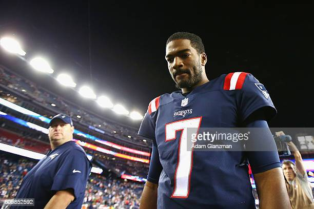 Jacoby Brissett of the New England Patriots runs off the field after defeating the Houston Texans 270 at Gillette Stadium on September 22 2016 in...