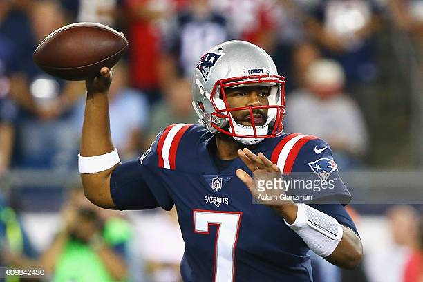 Jacoby Brissett of the New England Patriots throws a pass during the first half against the Houston Texans at Gillette Stadium on September 22 2016...