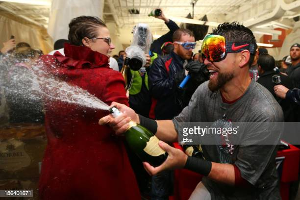 Jacoby Ellsbury of the Boston Red Sox celebrates in the locker room after defeating the St Louis Cardinals 61 in Game Six of the 2013 World Series at...