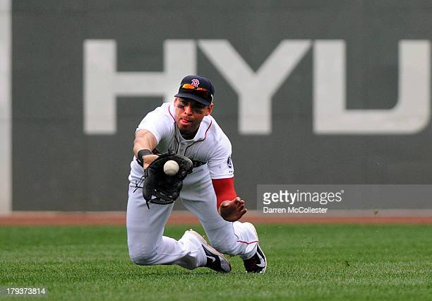 Jacoby Ellsbury of the Boston Red Sox makes a diving catch in the fourth inning against the Detroit Tigers at Fenway Park on September 2 2013 in...