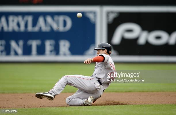 Jacoby Ellsbury of the Boston Red Sox slides into second base attempting to steal against the Baltimore Orioles on May 14, 2008 at Camden Yards in...