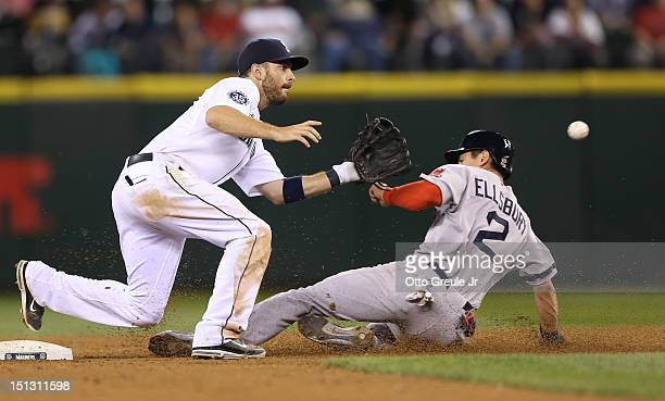 Jacoby Ellsbury of the Boston Red Sox steals second base against Dustin Ackley of the Seattle Mariners at Safeco Field on September 5 2012 in Seattle...