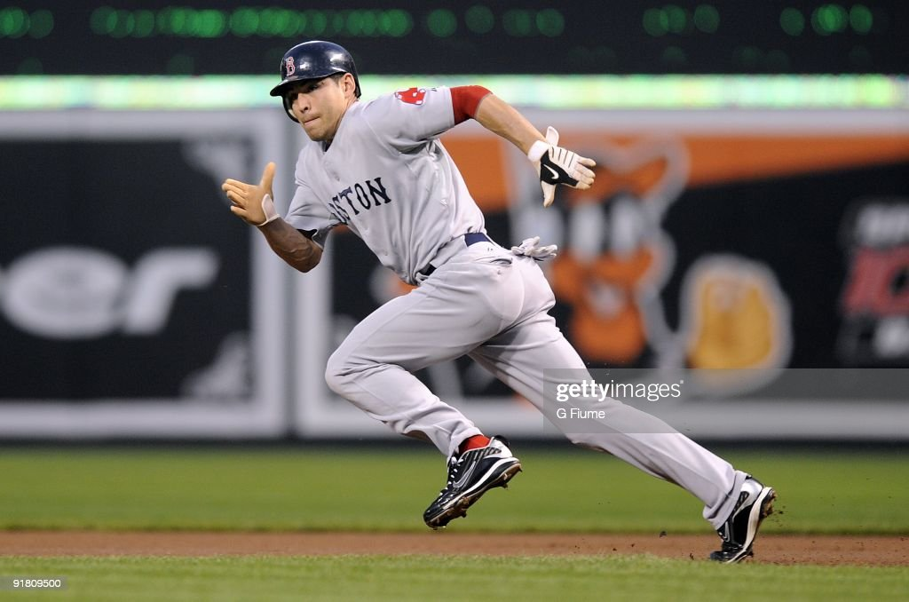 Jacoby Ellsbury #46 of the Boston Red Sox steals second base against the Baltimore Orioles on September 18, 2009 at Camden Yards in Baltimore, Maryland.