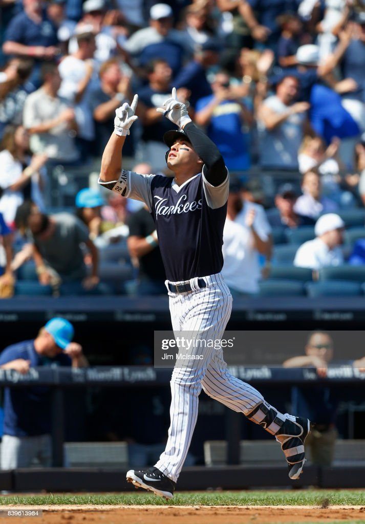 Jacoby Ellsbury #22 of the New York Yankees celebrates his fourth inning three run home run against the Seattle Mariners at Yankee Stadium on August 26, 2017 in the Bronx borough of New York City.