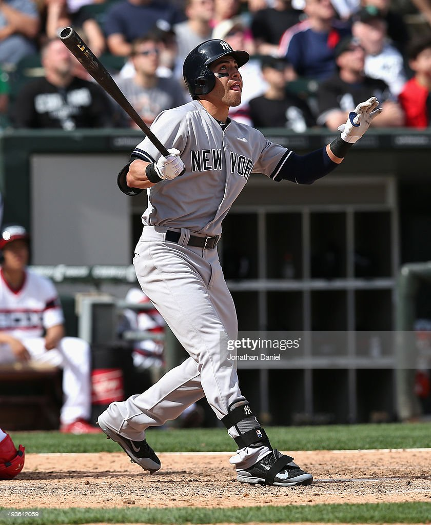 Jacoby Ellsbury #22 of the New York Yankees hits a solo home run in the 10th inning against the Chicago White Sox at U.S. Cellular Field on May 24, 2014 in Chicago, Illinois. The Yankees defeated the White Sox 4-3 in 10 innings.