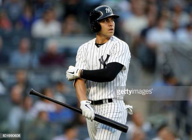Jacoby Ellsbury of the New York Yankees reacts after striking out in the first inning against the Detroit Tigers on July 31 2017 at Yankee Stadium in...