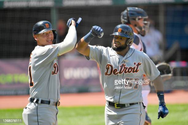 JaCoby Jones celebrates with Jorge Bonifacio of the Detroit Tigers after both scored on a homer by Bonifacio during the fourth inning against the...