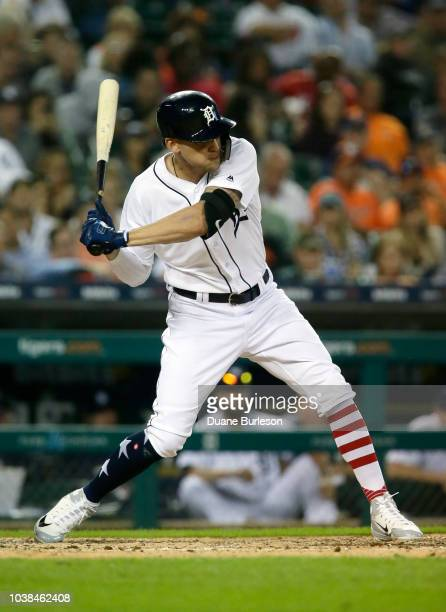 JaCoby Jones of the Detroit Tigers bats against the Houston Astros at Comerica Park on September 11 2018 in Detroit Michigan