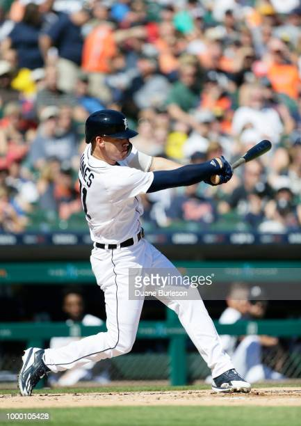 JaCoby Jones of the Detroit Tigers bats against the Texas Rangers at Comerica Park on July 7 2018 in Detroit Michigan