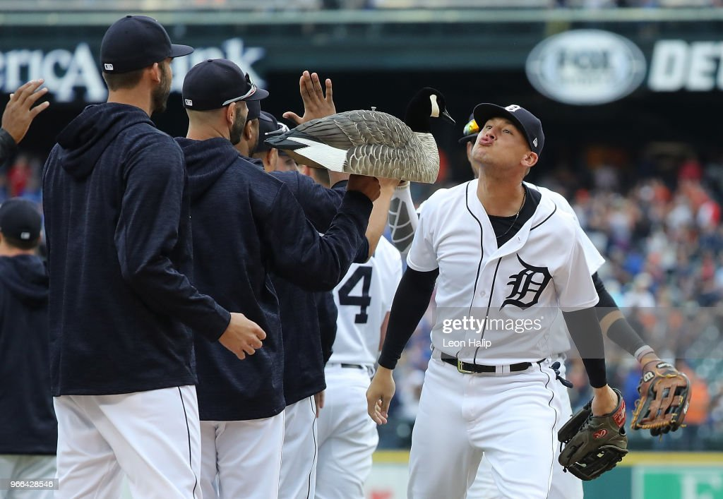 JaCoby Jones #21 of the Detroit Tigers celebrates a win over the Toronto Blue Jays with a kiss to the 'rally goose' at Comerica Park on June 2, 2018 in Detroit, Michigan. Detroit defeated Toronto 7-4.