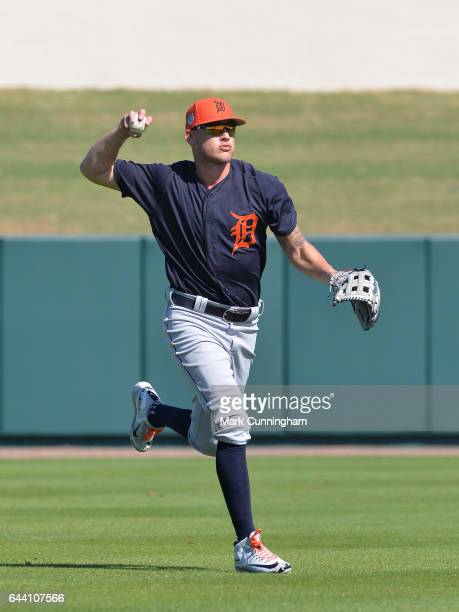 JaCoby Jones of the Detroit Tigers fields during Spring Training workouts at the TigerTown facility on February 20 2017 in Lakeland Florida