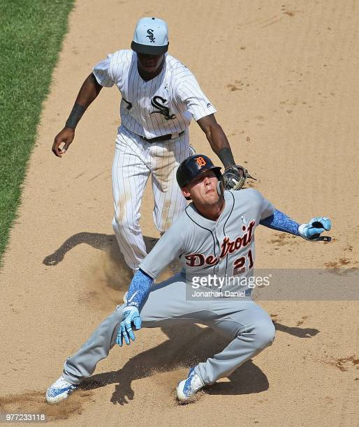 JaCoby Jones of the Detroit Tigers is picked off on a steal attempt in the 7th inning by Tim Anderson of the Chicago White Sox at Guaranteed Rate...