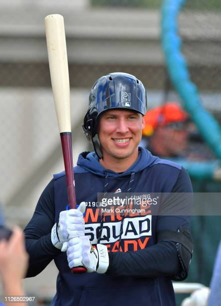 JaCoby Jones of the Detroit Tigers looks on during Spring Training workouts at the TigerTown Facility on February 20 2019 in Lakeland Florida
