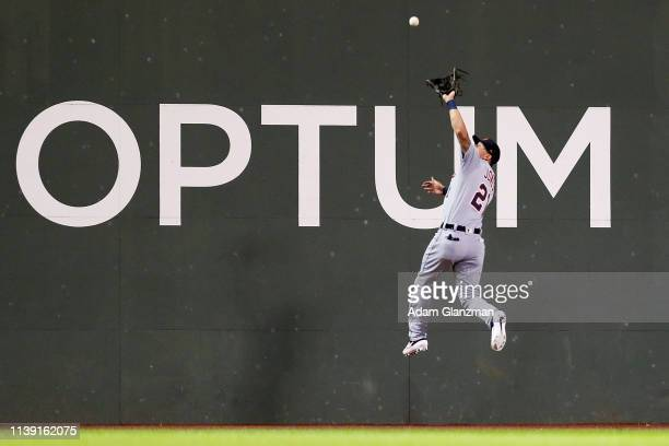 JaCoby Jones of the Detroit Tigers makes a catch on the warning track in the sixth inning of a game against the Boston Red Sox at Fenway Park on...