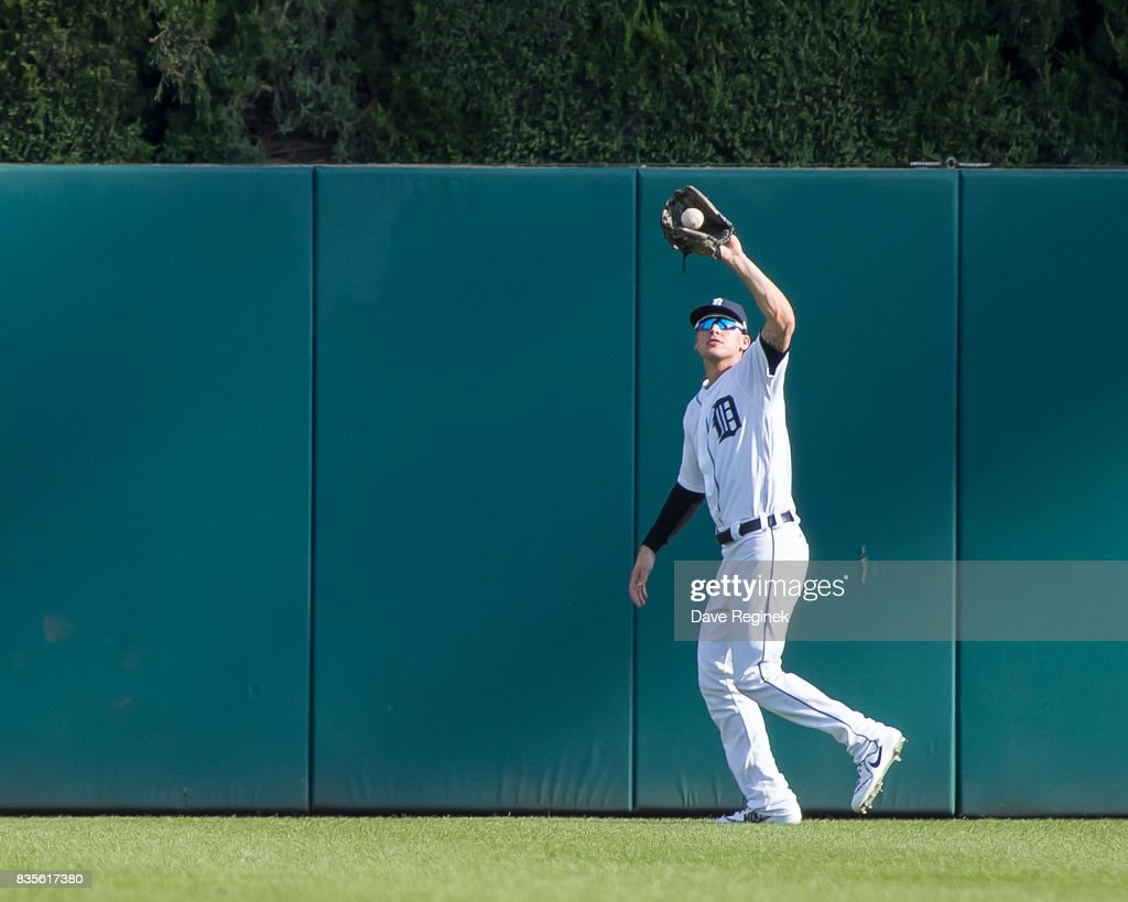 JaCoby Jones #40 of the Detroit Tigers runs down a fly ball in the fifth inning against the Los Angeles Dodgers during a MLB game at Comerica Park on August 19, 2017 in Detroit, Michigan.