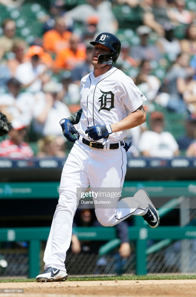 JaCoby Jones #21 of the Detroit Tigers scores against the Chicago White Sox on a single by Dixon Machado of the Detroit Tigers during the fifth inning at Comerica Park on May 27, 2018 in Detroit, Michigan. The Tigers defeated the White Sox 3-2.