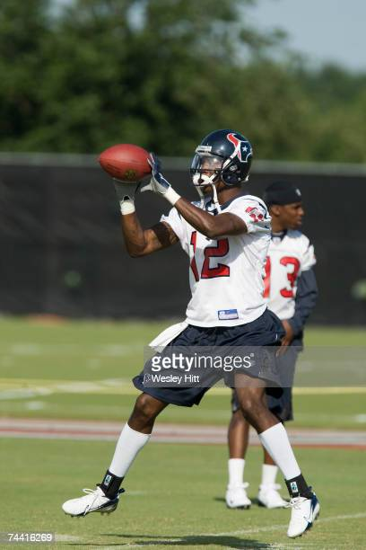 Jacoby Jones of the Houston Texans catches a pass during OTA camp at the Texans Methodist Training Center on June 6, 2007 in Houston, Texas.