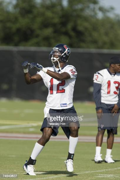 Jacoby Jones of the Houston Texans warms up during OTA camp at the Texans Methodist Training Center on June 6, 2007 in Houston, Texas.