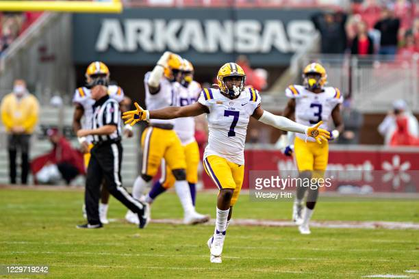 Jacoby Stevens of the LSU Tigers celebrates after a blocked field goal in the second half of a game against the Arkansas Razorbacks at Razorback...