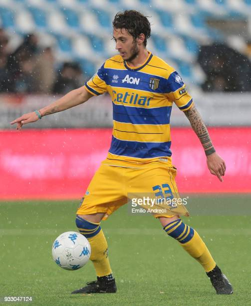Jacopo Dezi of Parma Calcio 1913 in action during the serie B match between Virtus Entella and Parma Calcio at Stadio Comunale on March 17 2018 in...