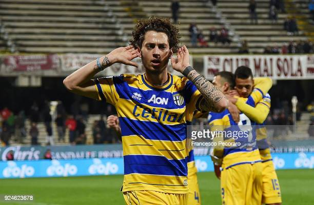 Jacopo Dezi of Parma Calcio celebrates after scoring the 0-1 goal during the Serie B match between US Salernitana and Parma Calcio at Stadio Arechi...