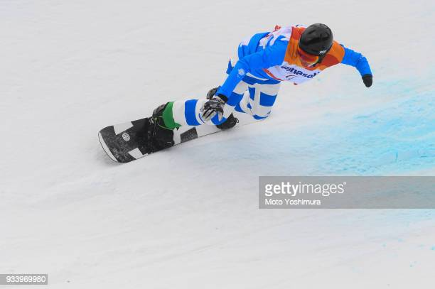 Jacopo Luchini of Italy competes in the Snowboard Men's Banked Slalom SBUL Run 2 on day seven of the PyeongChang 2018 Paralympic Games on March 16...