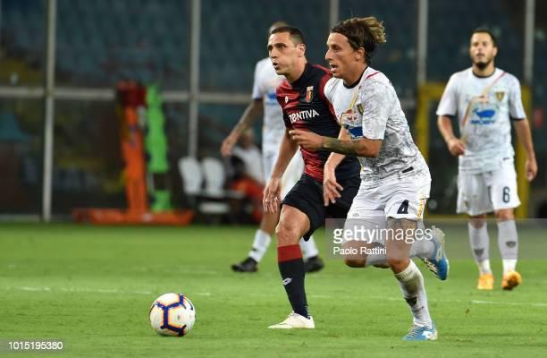 Jacopo Petriccione of Lecce and Caldeira Romulo of Genoa during the Coppa Italia match between Genoa CFC and Lecce at Stadio Luigi Ferraris on August...